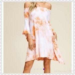 NWT Tie Dye Burnt Orange Boho Dress